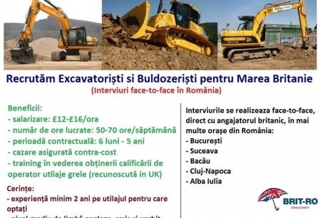 Anunt Imagine - FARA COMISION- Excavatoristi si buldozeristi pentru Anglia